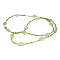Green Peridot and Prehnite Nugget Long Layering Necklace