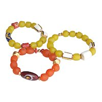 Bracelets of Colorful African Recycled Glass and Krobo Beads