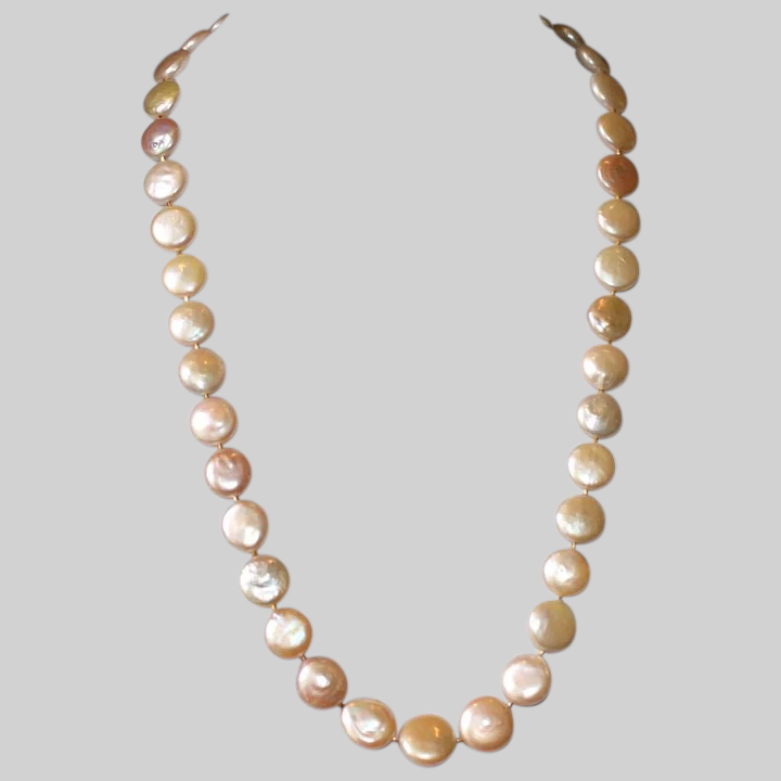Peach Pearl necklace Natural Freshwater Pearl Unique Baroque Pearl Pendant For Wife Pearl and Italian Shell Necklace One of a Kind Gift