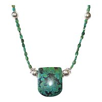 Chrysocolla Pendant Necklace with Chinese Turquoise and Sterling and Bali Silver