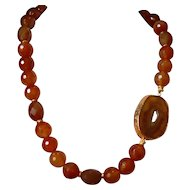 Carnelian Agate Statement Necklace with Carnelian Agate Geode Slab