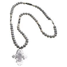 Ethiopian Coptic Cross Pendant on Polished Howlite, Bone and African Batik Beads