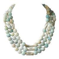 Matte Black Gold Amazonite and Prasiolite 3 Strand Statement Necklace