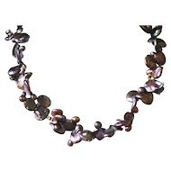 Unusual and Irregular Iridescent Coin Freshwater Pearl  Necklace