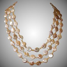Golden Peach Freshwater Coin Pearl  3-Strand Necklace