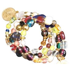 So Many Colors Memory Wire Fiesta Bracelet with 1973 and 1976 Cinco Centavos Mexican Coins