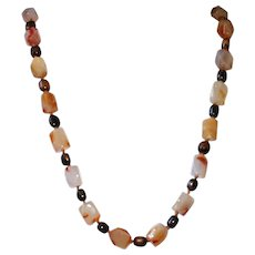 Carnelian Agate Nuggets and African Bone on Handknotted Leather