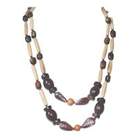 Extra Long Bone, Wood and Vintage Glass Boho/Ethnic Style Necklace