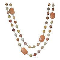 Southwestern Desert - Red Aventurine and Matte Black Gold Amazonite Necklace