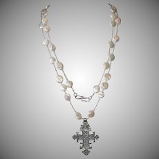 Ethiopian Coptic Cross and Freshwater Cultured Coin Pearls
