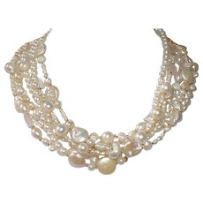 7 Strand Freshwater Pearl and Natural Quartz Torsade Necklace