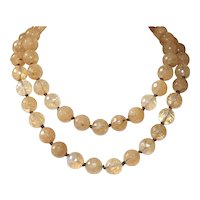 Sparkling Yellow Quartz Glass on Handknotted Greek Leather Necklace