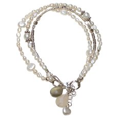 Freshwater Pearls, Moonstone, and Sterling  Silver 3 Strand Bracelet.