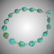 Val Verde Blue-Green Chinese Turquoise Nuggets and Bali and Sterling Silver Necklace
