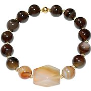 Brown Line and Carnelian Agate Bracelet