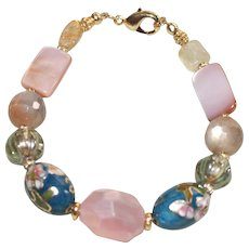 Vintage Teal Cloisonné, Rose Quartz, Moonstone and Mother of Pearl  Bracelet
