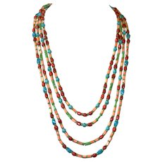 Spiny Oyster, Turquoise and Sponge Coral  4-Strand Necklace