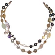 Long and Luxurious Semi-Precious Gemstone  and Freshwater Pearl Necklace
