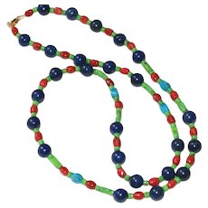 Lapis, Sponge Coral and Turquoise Necklace