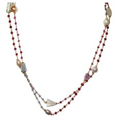 Long Layering Ruby and Iolite Chain Necklace