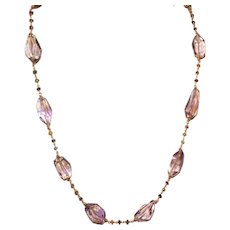 Natural Ametrine Nugget and Tourmaline Chain Necklace