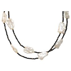 Long Black Spinel Necklace with Large Freshwater Biwa Pearls