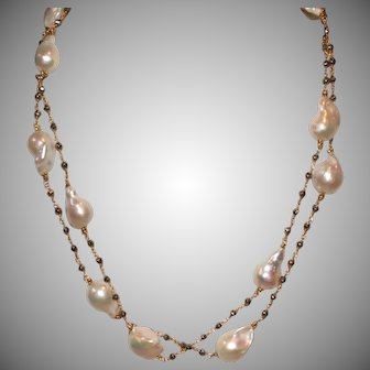 Freshwater Baroque Pearls and Faceted Golden Pyrite Chain Necklace