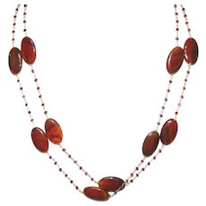 Rubellite and Brown Agate Long Necklace