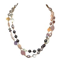 Semi-Precious Gemstone  and Freshwater Pearl Necklace