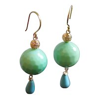 Faceted Green Stone and Turquoise Drop Statement Earrings