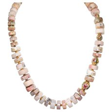 Pink Peruvian Opal Nuggets and Cloisonné  Necklace.