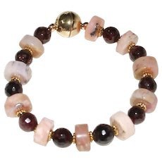 Pink Peruvian Opal Nuggets and Natural Garnet Bracelet