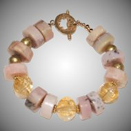Pink Peruvian Opal Nuggets and Citrine Bracelet