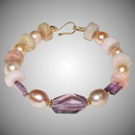 Pink Peruvian Opal Heish-Cut Nuggets, Pearls and Amethyst Bracelet