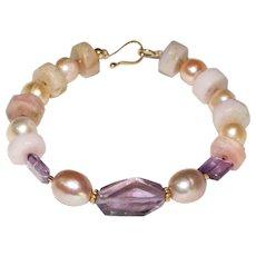 Pink Peruvian Opal Heish-Cut Nuggets, Pearls and Amethyst Bracelet