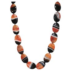 Orange and Black Agate Statement Necklace