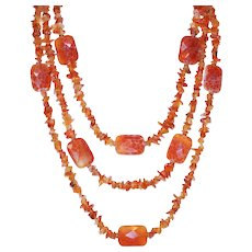 Carnelian and Agate Three Strand Statement Necklace