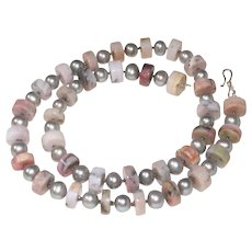 Pink Peruvian Opal Nuggets and Gray Pearl  Necklace