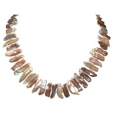 Shades of  Pink, Peach and Mauve Freshwater Stick Pearl Necklace