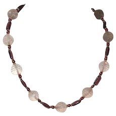 Stunning Rose Quartz, Cranberry Pearls  and Zambian Amethyst Necklace