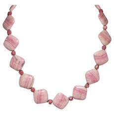 Rhodochrosite and Silver Necklace