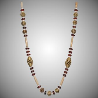 African Wound Brass, Bone and Horn Necklace