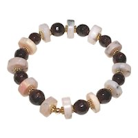 Pink Peruvian Opal and Natural Garnet Bracelet