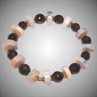 Pink Peruvian Opal and Natural Garnet Bracelet