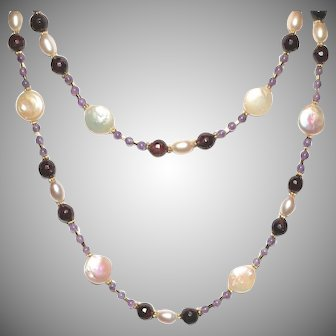 Long Layering Necklace of Garnets, Freshwater Coin and Oval Pearls and Amethyst
