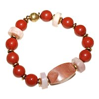 Pipestone, Red Jasper, and Pink Peruvian Opal Bracelet