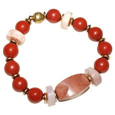 Pipestone, Red Jasper, and Pink Peruvian Opal Bracelet