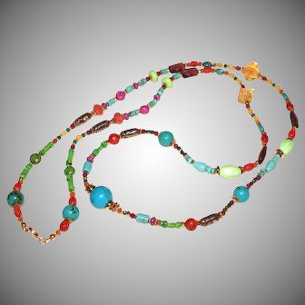 Long Gemstone Layering Necklace with Cloisonné