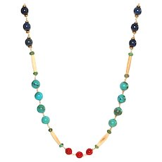Turquoise, Lapis, Bone and Red Mother of Pearl Long Necklace