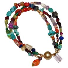 3 Strand Colorful Multi Gemstone  Bracelet.